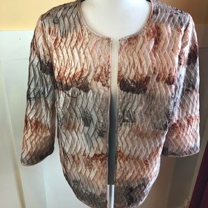 Chico's blazer jacket sz 1 open front pink taupe